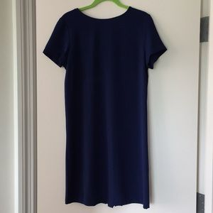 Blue Summer dress with back pleating